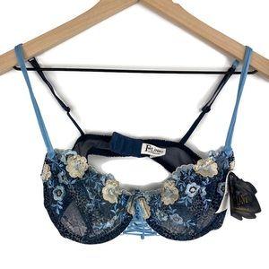 Felina Demi Bra Blue Lace Front Tie 36 C NWT